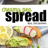 Creamy Pea Spread is a quick and easy recipe that makes for a delicious, healthy appetizer that's delicious served with baguette slices and radishes!