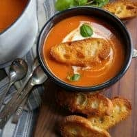 This Creamy Tomato Bisque is an easy soup recipe that is perfect for a quick homemade lunch!
