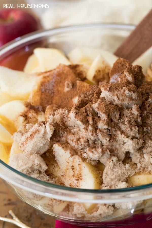 Ingredients of Crock Pot Apple Cobbler in a mixing bowl