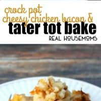 Crock Pot Cheesy Chicken, Bacon, & Tater Tot Bake is a delicious and super easy meal to put together. Your whole family will love it!
