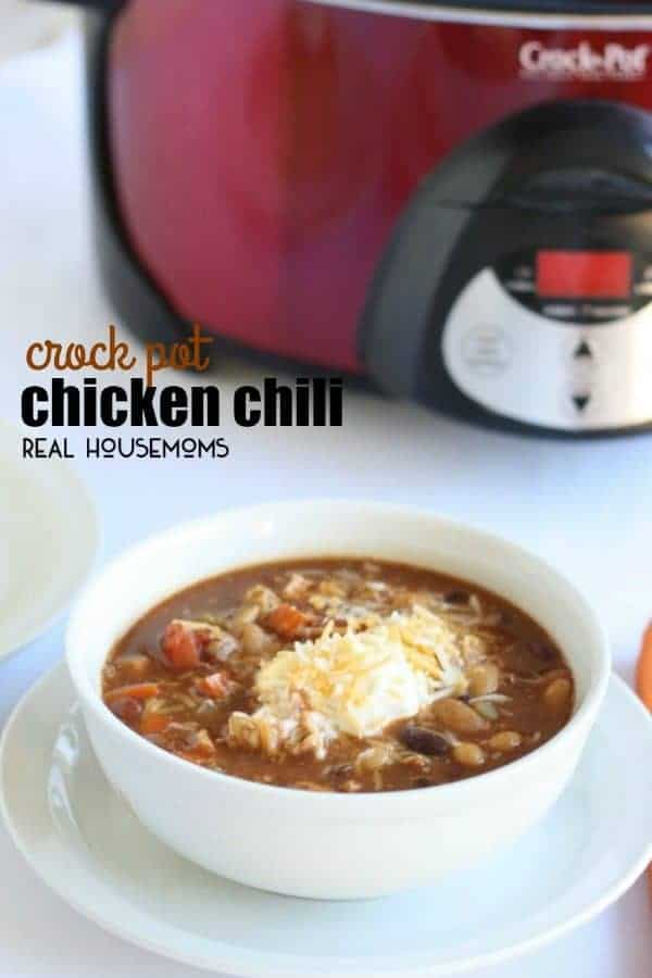 It's soup season and this CROCK POT CHICKEN CHILI RECIPE is the easiest soup to throw together on a cold day!