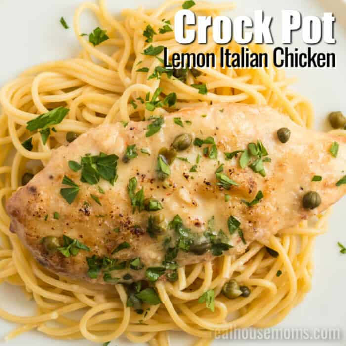 square image of crock pot lemon italian chicken with text
