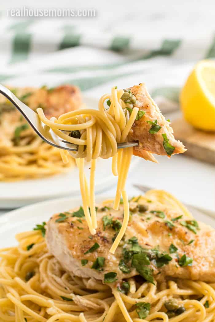 forkful for crock pot chicken and pasta