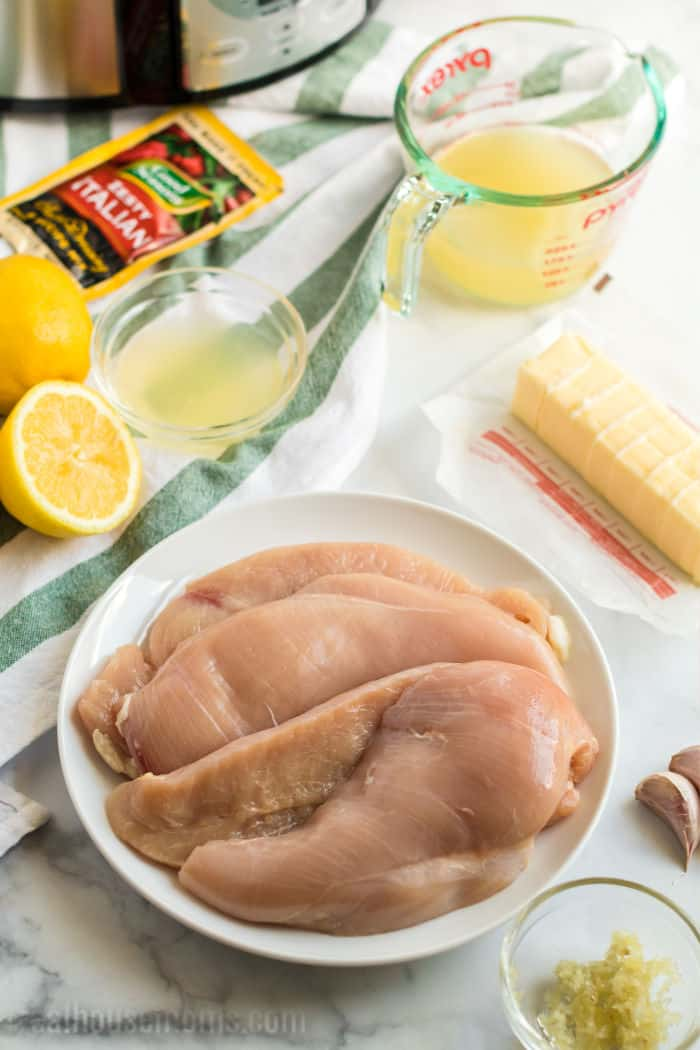 ingredients for crock pot lemon italian chicekn with capers