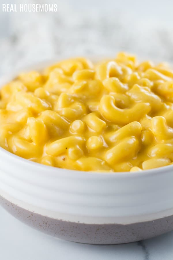 crock pot mac and cheese in a bowl