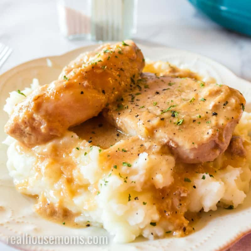 Two pork chops on a bed of mashed potatoes covered in sauce from crock pot