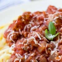 Crock Pot Spaghetti Sauce is an easy dinner recipe to make busy weeknights easier! I keep the ingredients on hand to make when I'll be short on time!