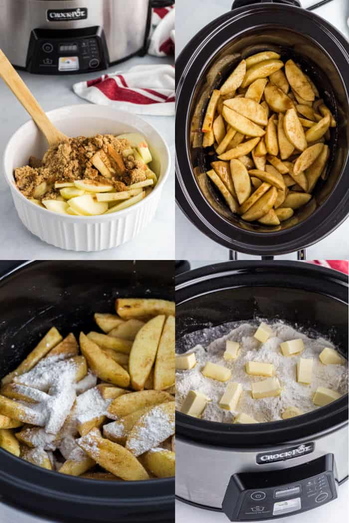 apple slices, brown sugar, and spices in a bowl, seasoned apple slices in a crock pot, apple slices with cake mix sprinkled over top, pat of butter dotting the top of cake mix over apple in a crock pot