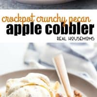 Crock Pot Crunchy Pecan Apple Cobbler is a warm and totally delicious apple cobbler that you make your slow cooker in no time at all! Just toss all the ingredients in and give it a couple hours!