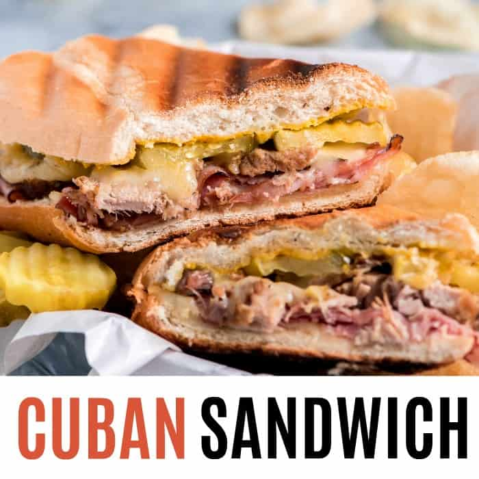 square image of cuban sandwich recipe with text