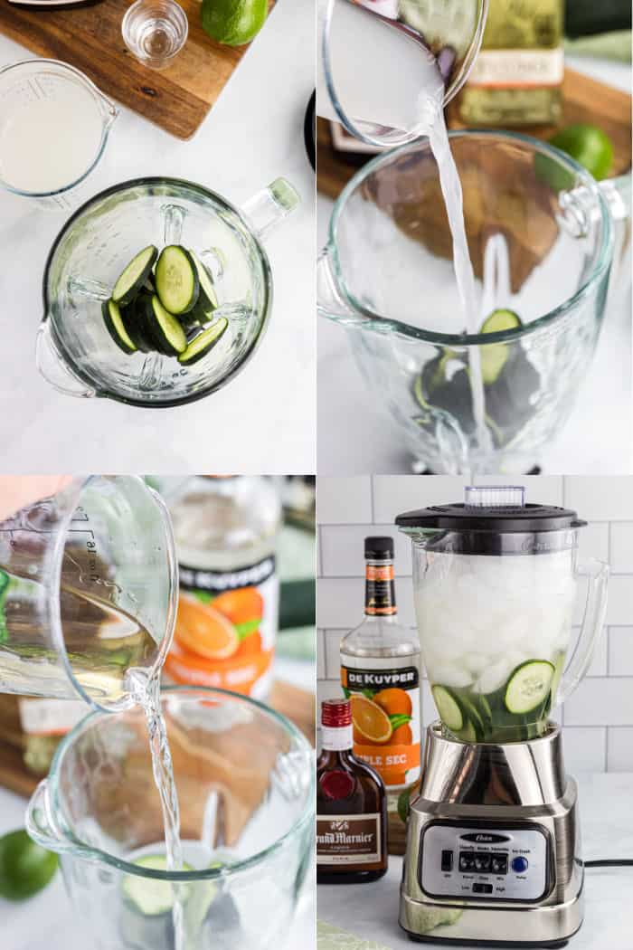 sliced cucumbers in a blender, lime juice being poured into blender, tequila being poured into blender, blender with lid on and ice added to blender