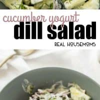 This Cucumber Yogurt Dill Salad tastes like tzatziki dip - but it's in a healthy salad form!'s in a healthy salad form! This pairs really well with strongly spiced foods, bringing a welcome freshness to the palette!