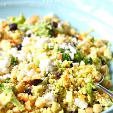Try this flavorful Curried Couscous with Broccoli and Feta for an easy weeknight dinner. It's ready in under 15 minutes and never disappoints!
