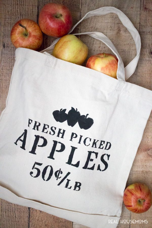 DIY Apple Picking Tote! filled with apples