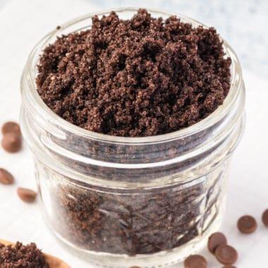 square image of chocolate lip scrub in a small jar