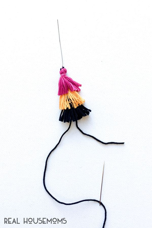 Making tassels for DIY Festive Skull Earrings