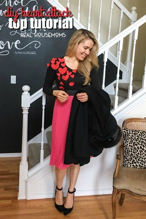 Inspired by Kate Spade and far from banking the bank, create this easy DIY Heart Attack Top this Valentine season! With a little fabric, scissors, and some extra light sewing, you can get Valentine ready in less than 10 minutes!!