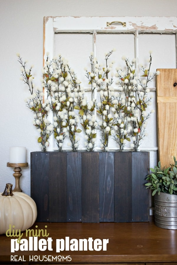Perfect for fall and Thanksgiving decor, create a Mini Pallet Planter for festive fall stems!