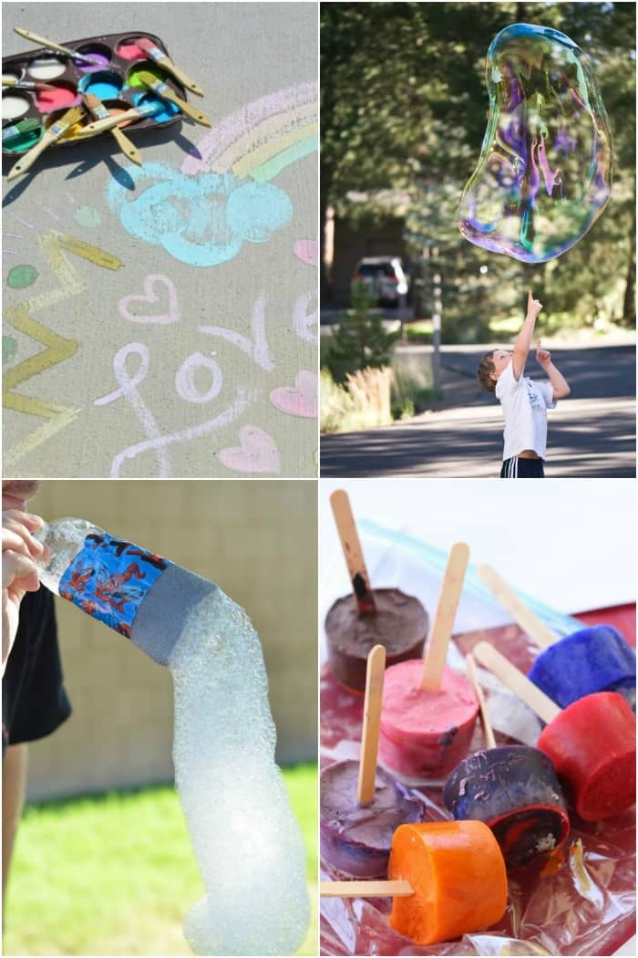 outdoor bubble and paint activities for kids