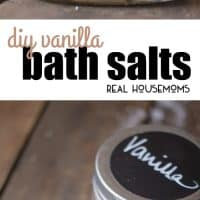 Resolve to de-stress this year! Make these DIY Vanilla Bath Salts for a sweet-smelling and relaxing bath; also great for gifting!