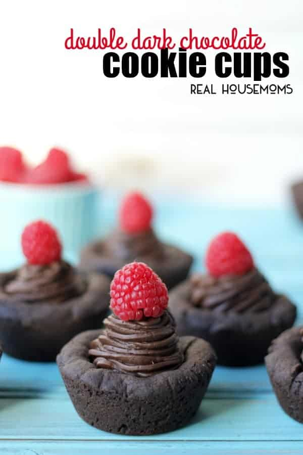 Double Dark Chocolate Cookie Cups are a decadent dessert. A crispy dark chocolate cookie filled with rich and creamy chocolate frosting for a one-two punch of chocolate!