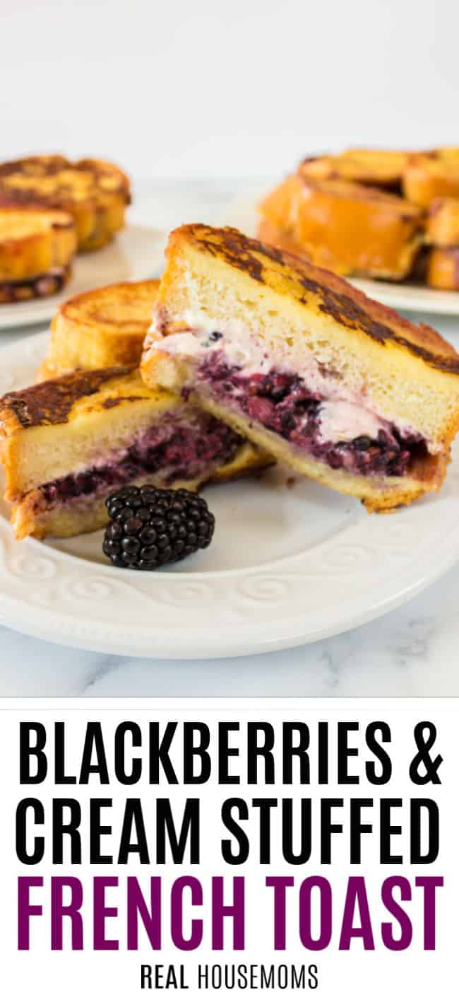 slice of blackberries & cream stuffed french toast cut in half to show filling