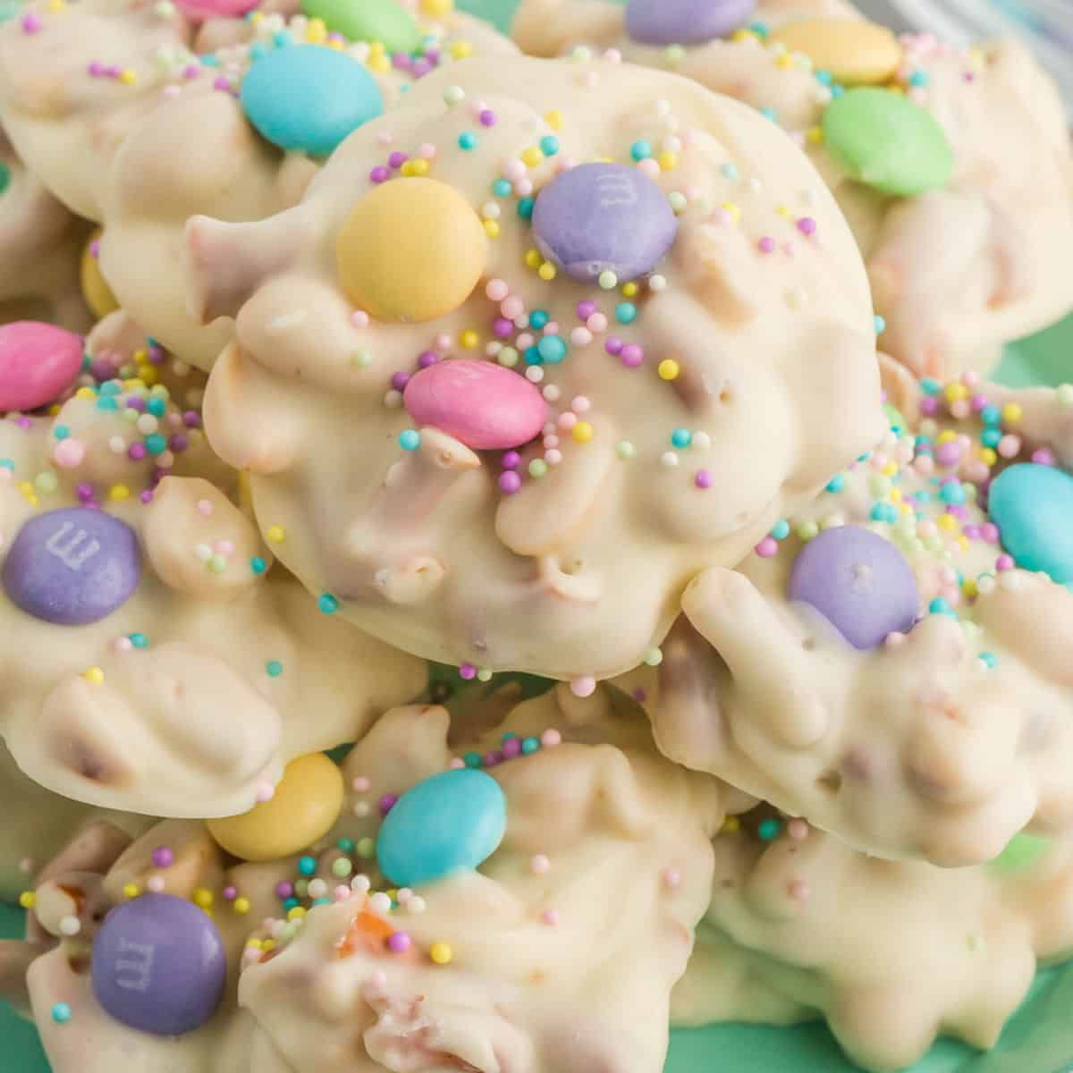 square image of easter crock pot candy piled up on a plate