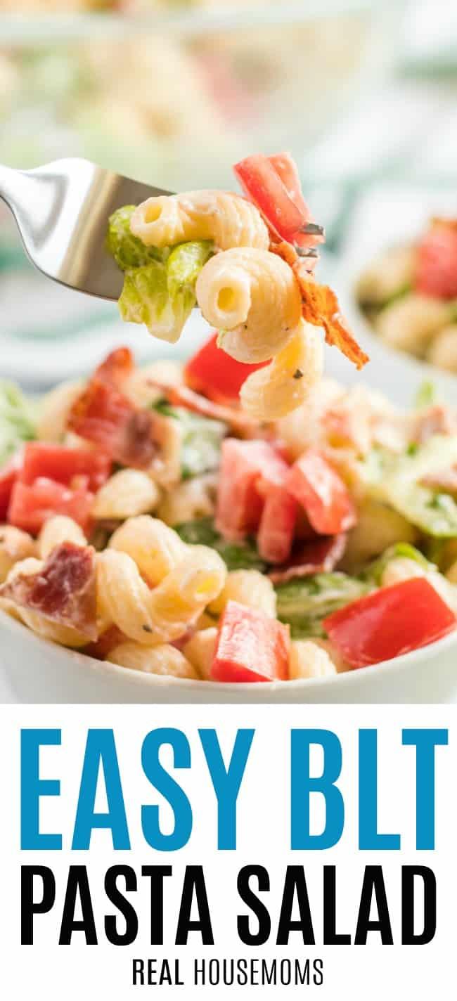 forkful of BLT pasta salad