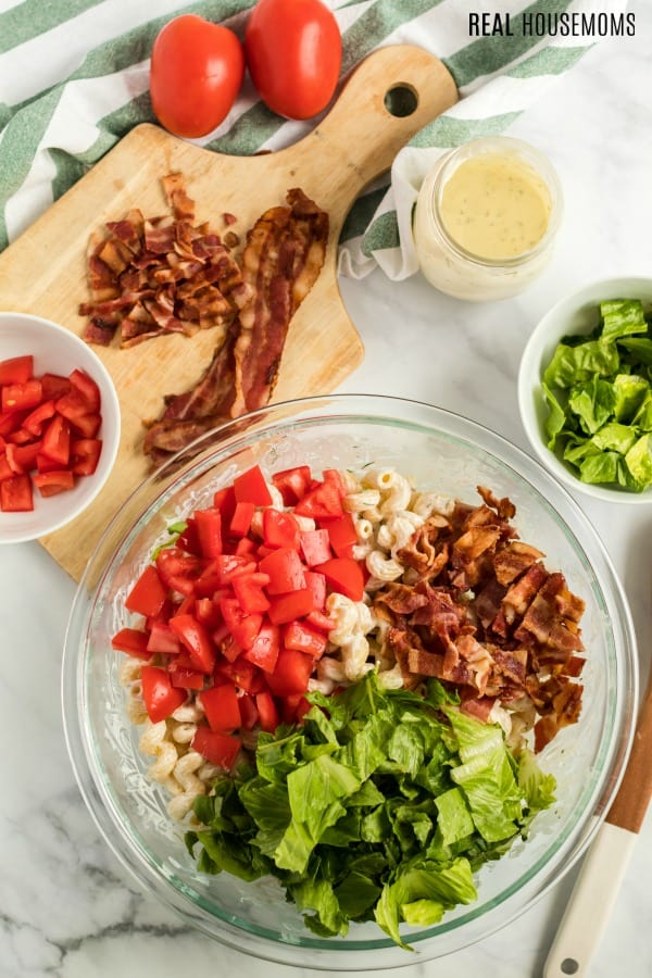 BLT Pasta Salad ingredients in a bowl