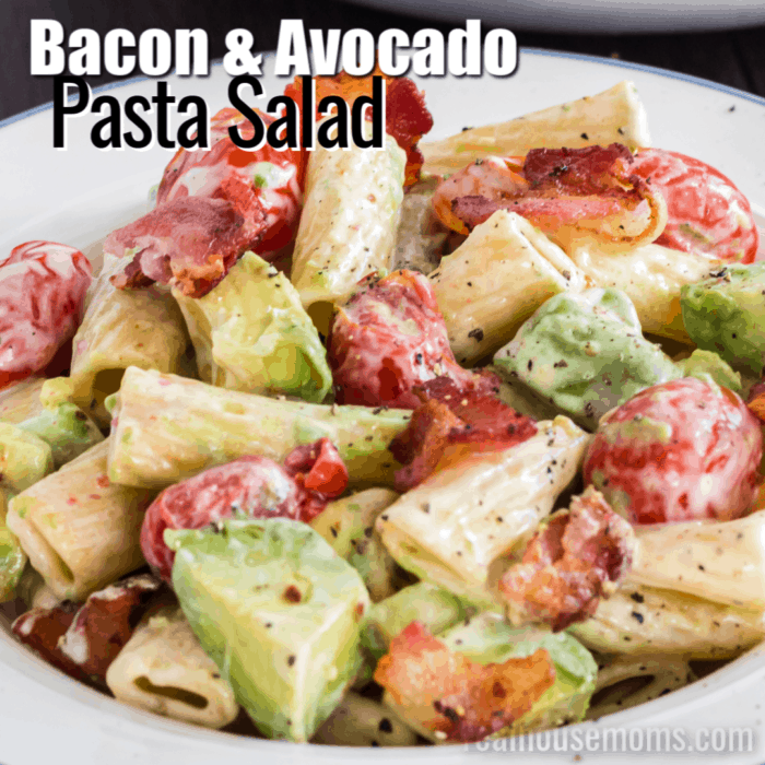 square image of easy bacon & avocado pasta salad with text