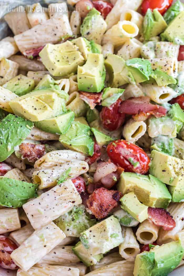 close up of bacon avocado pasta salad