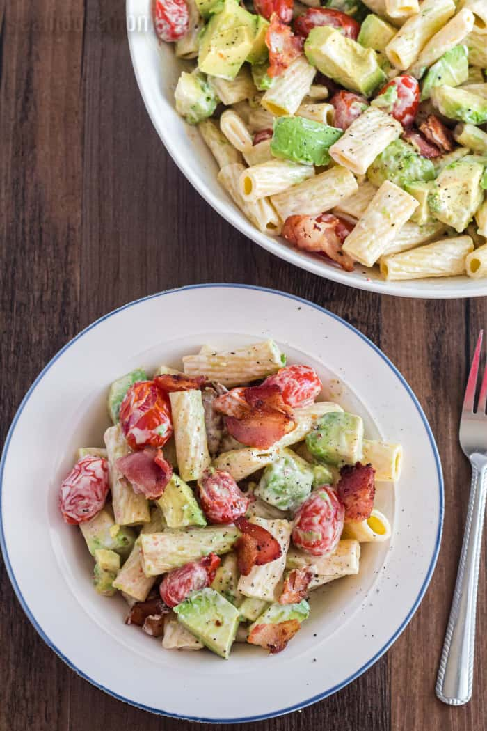 easy avocado pasta salad on a plate
