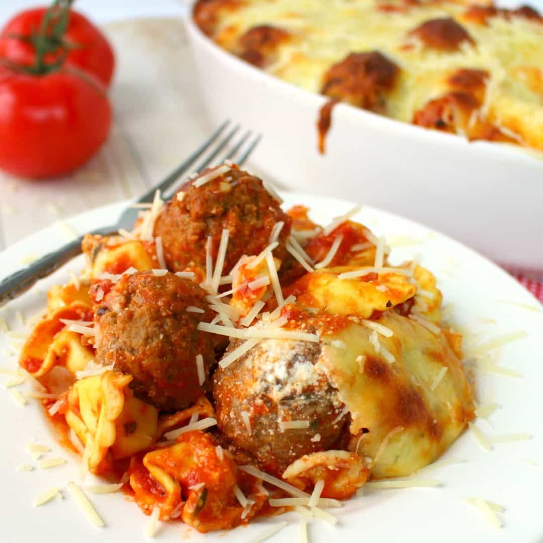 Easy Baked Tortellini and Meatballs is a wonderfully delicious pasta dinner option any night of the week! Everyone in the family will love this cheesy, delicious pasta!