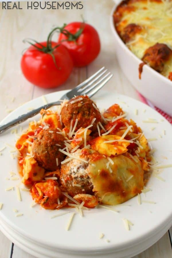 Easy Baked Tortellini and Meatballs is a wonderfully delicious dinner option any night of the week! Everyone in the family will love this cheesy, delicious pasta!