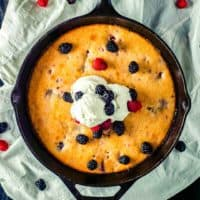 Ready in minutes, this EASY BERRY SKILLET CAKE is packed full of flavor and sure to satisfy that sweet tooth!