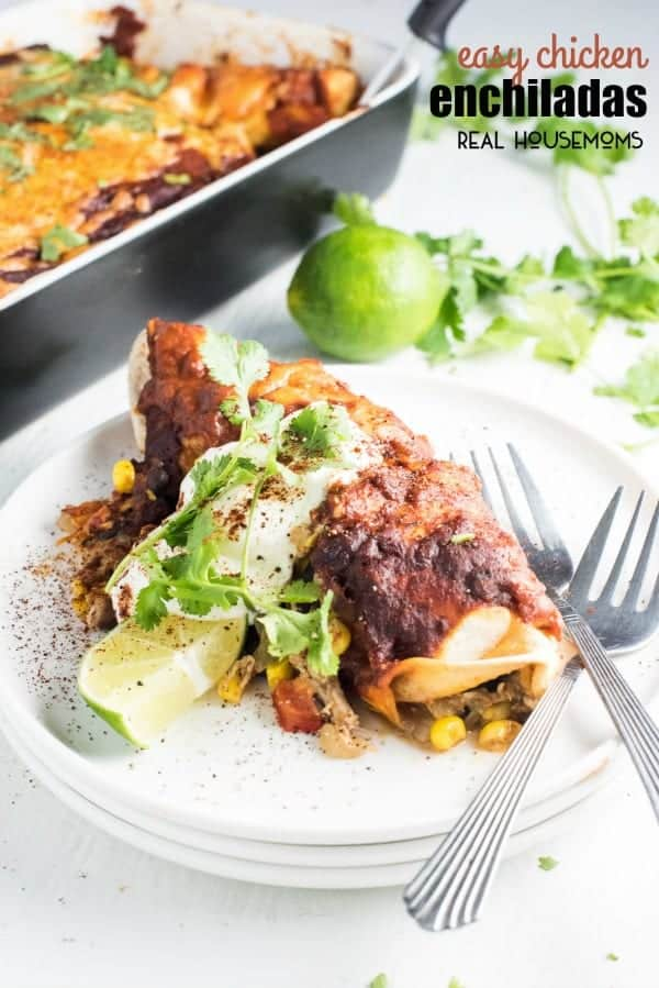 These EASY CHICKEN ENCHILADAS are a breeze to make and so delicious. They also freeze beautifully so you can make a double batch, enjoy one meal tonight, and the another down the road!
