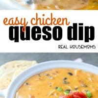 Cheesy, creamy and slightly spicy this Easy Chicken Queso Dip is a fast and tasty appetizer for game day, game night, parties and more! It needs to be on your must make list this year!