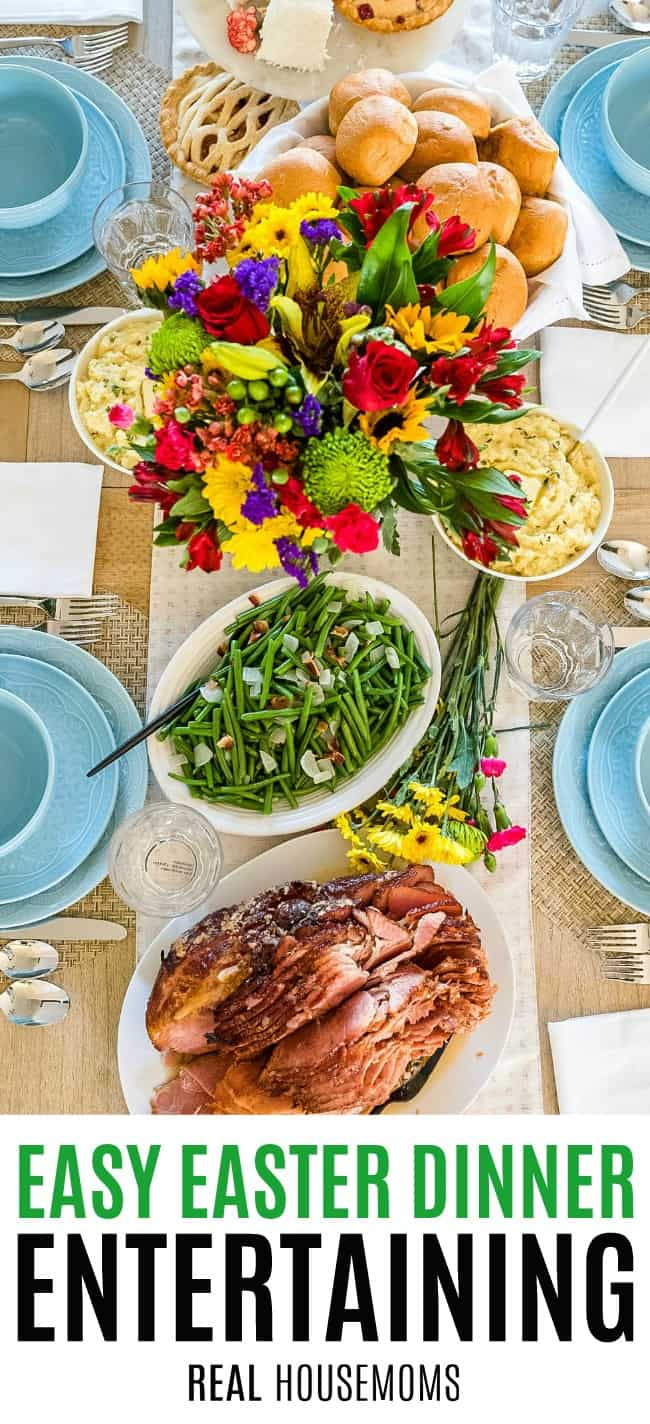 table for easter dinner with food from sam's club