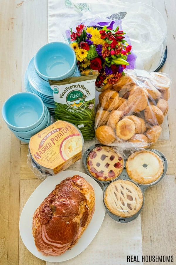 sam's club feed 10 for under $47 easter dinner items plus flower, service ware, and coconut cake