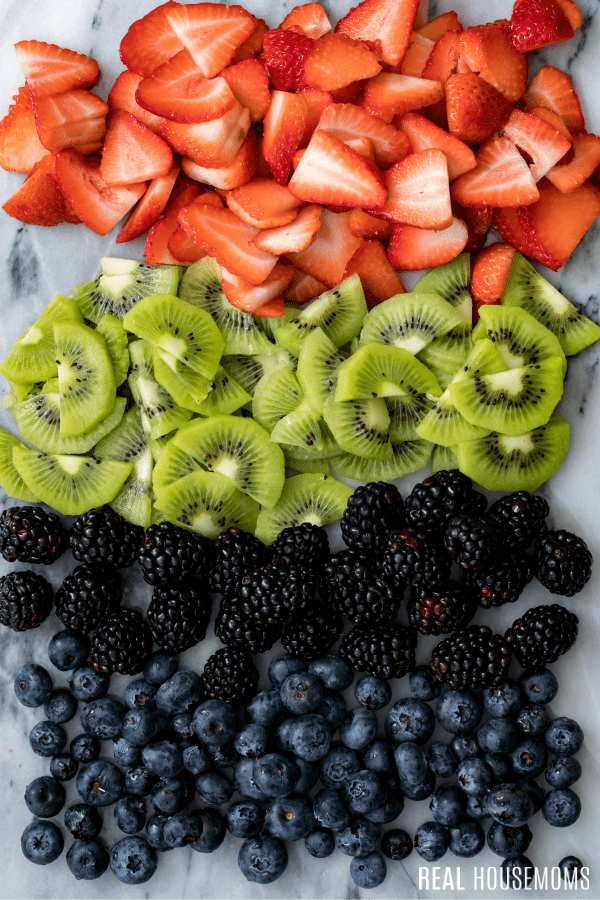 strawberry, kiwi, blackberries, and blueberries for fruit pizza