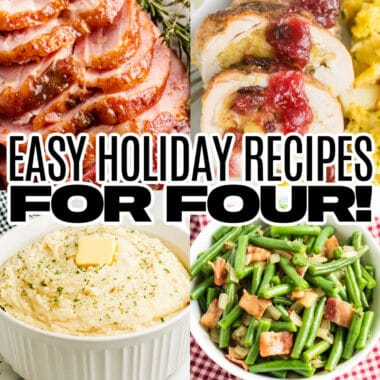 square collage of 4 holiday recipes with text overlay