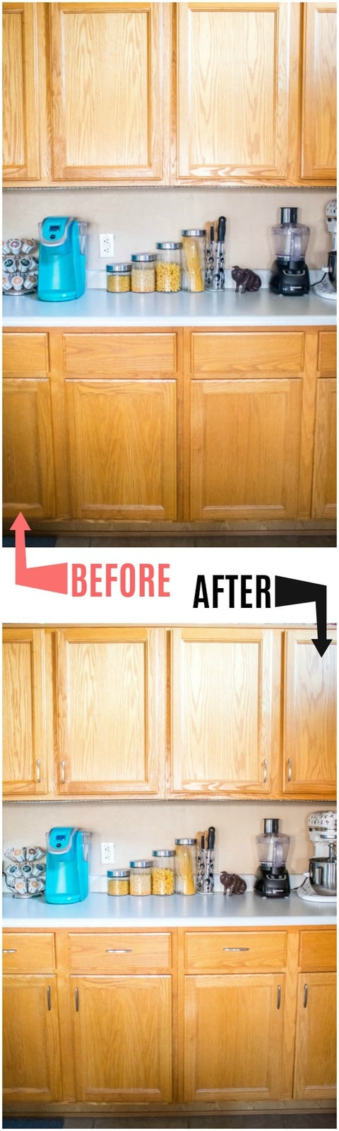 before and after kitchen cabinet improvement