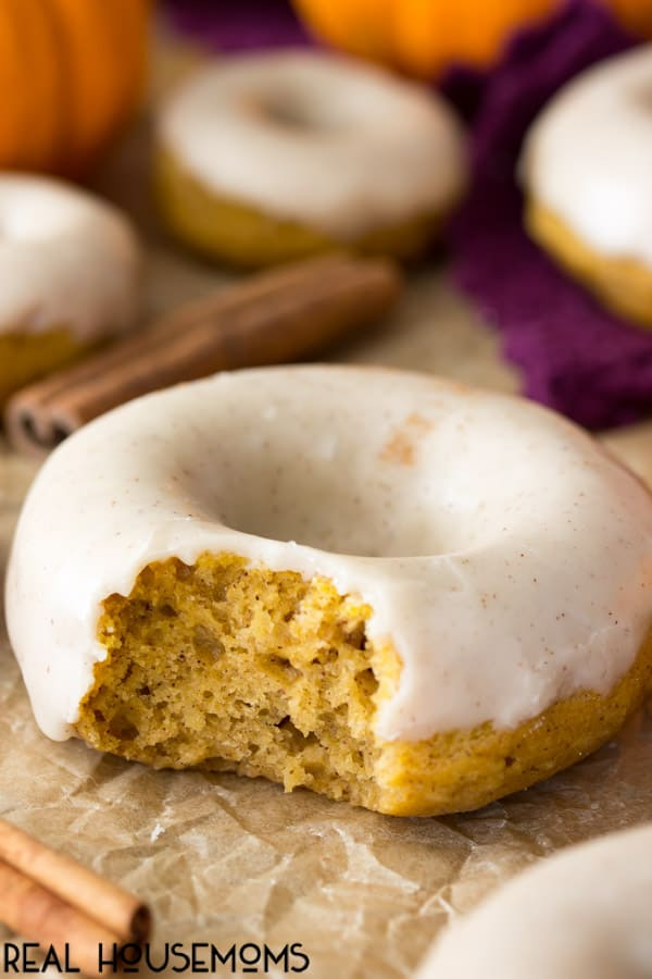 Close up of a Pumpkin Spice Donut with a bite taken out