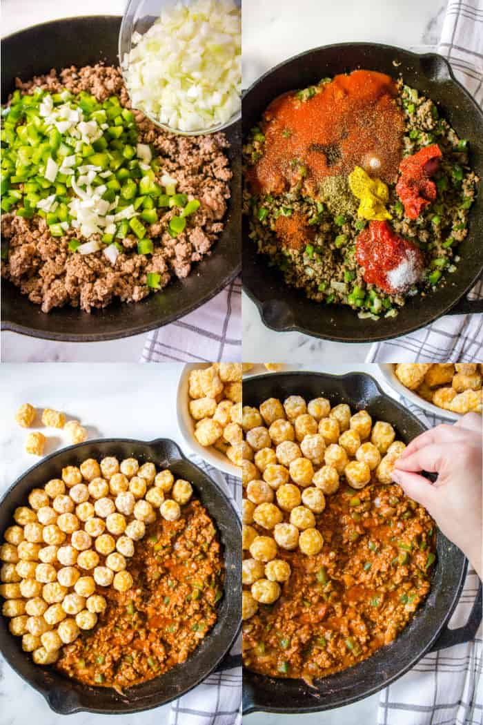 cooked ground beef with chopped green bell pepper and onion, ground beef & veggie mixtures with sloppy joe sauce ingredients, sloppy jow filling with frozen tater tots on top, hand placing tater tots on top of sloppy joes in a skillet