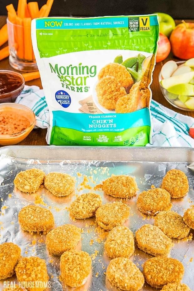 MorningStar Farm Chik'n Nuggets on a baking sheet