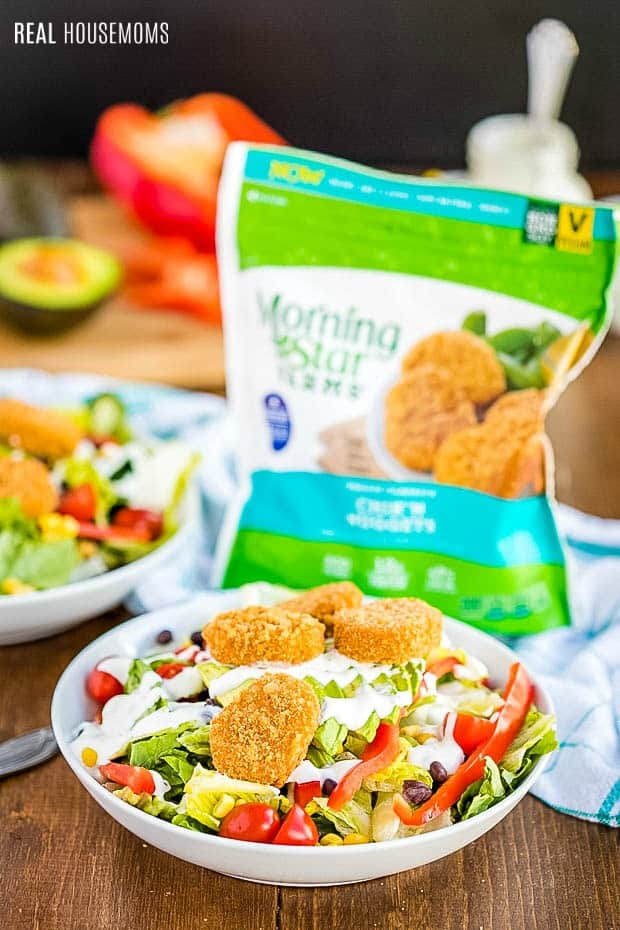 Southwest Chik'n Salad served in a bowl with MorningStar Farms Chik'n Nuggets