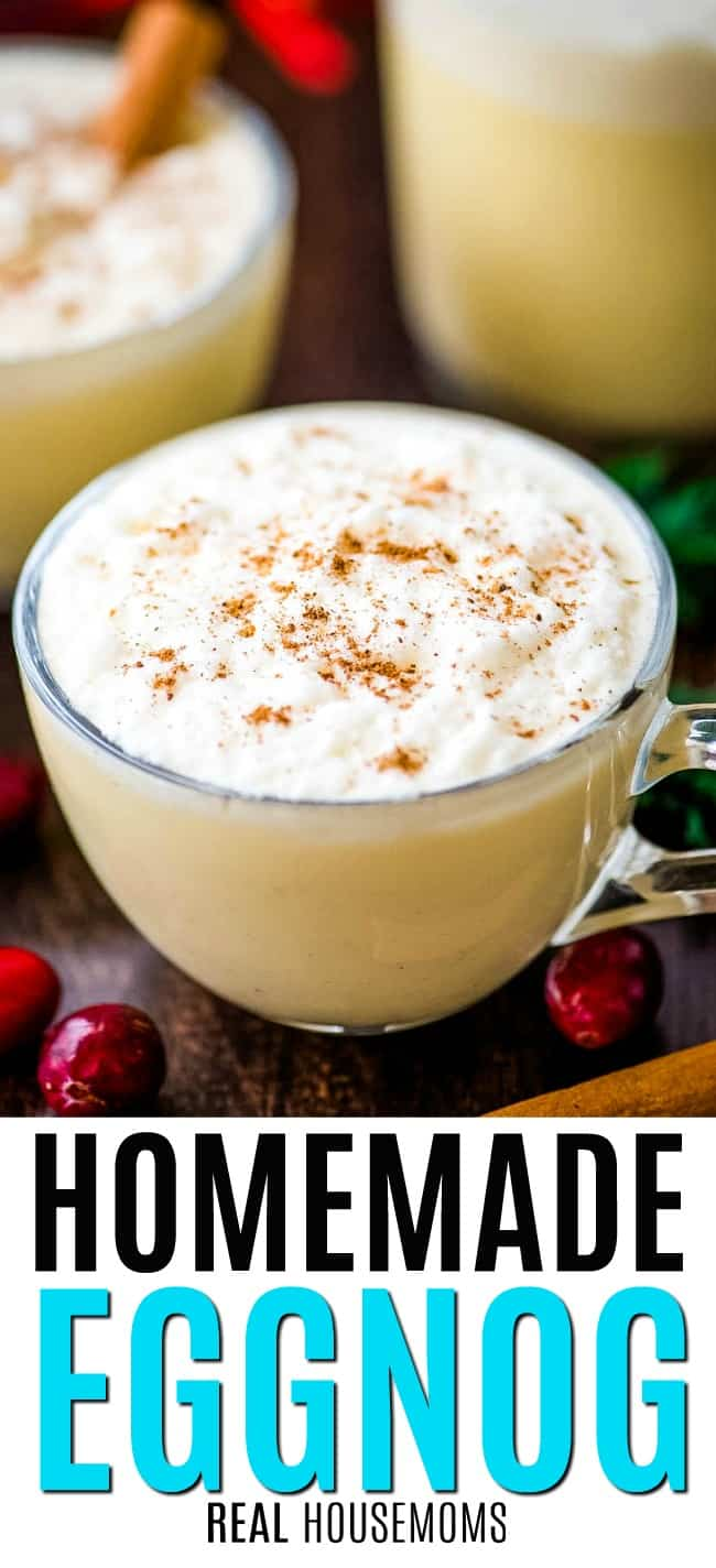 mug of eggnog topped with cinnamon