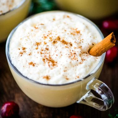 Eggnog is rich, creamy and easy to make at home with just a handful of ingredients. With warm spices and alcohol, this holiday treat just cannot be missed!