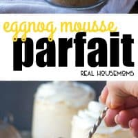 "Creamy, crunchy and delicious these Eggnog Mousse Parfaits are set atop a graham cracker ""crust"" for a perfect single serving holiday treat!"