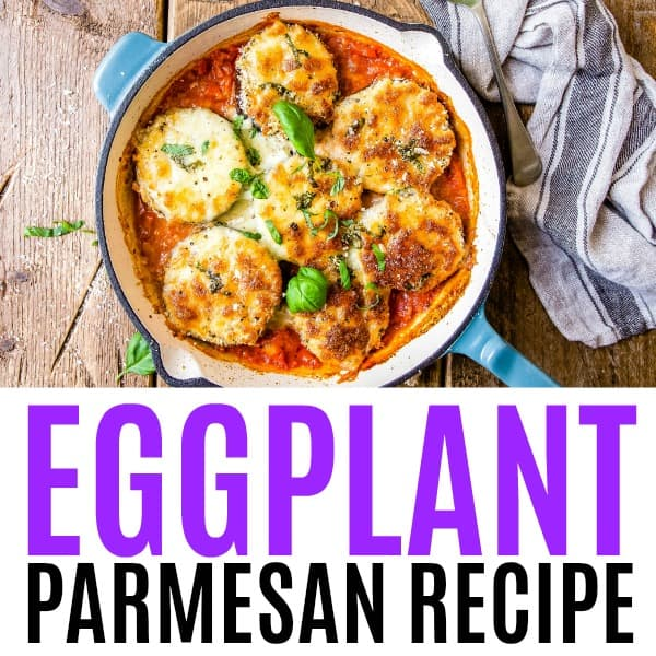 square image of eggplant parmesan with text